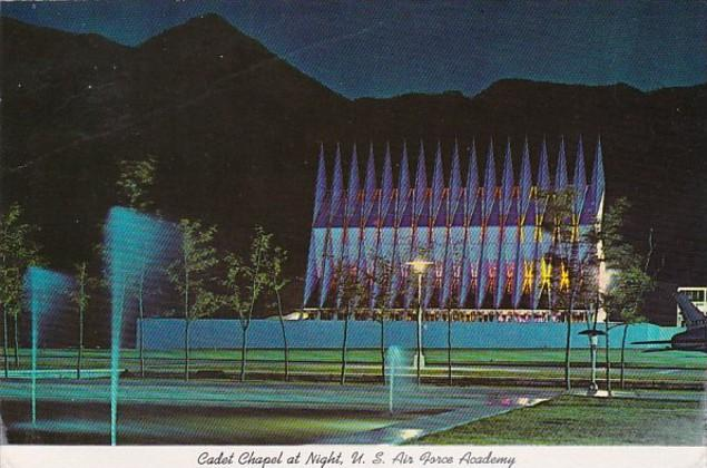 Colorado Colorado Springs Cadet Chapel At Night U S Air Force Academy 1980