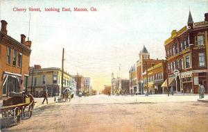 Macon GA Cherry Street Store Fronts Horse & Wagons Postcard