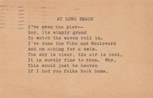LONG BEACH , California, PU-1916; Poem