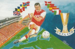 Arsenal Football Club 1997 UEFA European Cup Stadium Painting Postcard