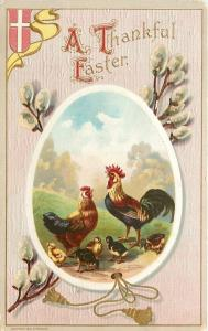Easter Egg Panorama~Pussy Willows~Rooster Crows~Hen~Chicks~Cross Shield~Wessler