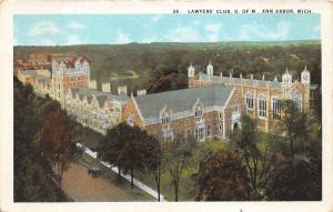 Ann Arbor Michigan~University of Michigan~Lawyers' Club Bird's Eye View~1920s Pc