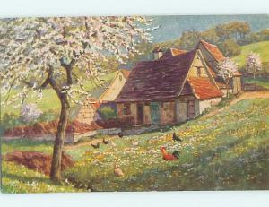Pre-Linen foreign COUNTRY HOUSE AND CHICKENS UNDER FLOWERING TREE HL7483
