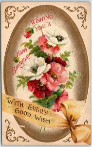 1910s BIRTHDAY Greetings Postcard WITH EVERY GOOD WISH Colorful Flowers Unused