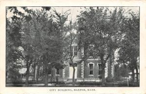 Harper KS City Bldg w/Wrought-Iron Fence~1908 Millis Arkansas City, Anthony RPO