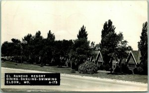 1948 ELDON, Missouri RPPC Photo Postcard EL RANCHO RESORT Roadside w/ Cancel