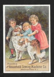 VICTORIAN TRADE CARD Household Sewing Machine Kids & Dog