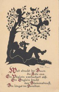 Silhouette ; Child & Fairys under tree , 1900-10s