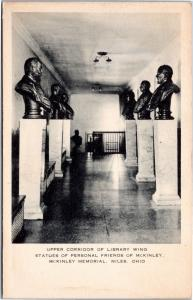 postcard OH - McKinley Memorial - statues in upper corridor of library wing - Ar