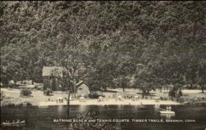 Sherman CT Beach & Tennis Courts Timber Trails Postcard