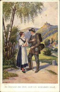 Kaskeline Austrian or German Romance Walking Stick Pretty Woman Postcard