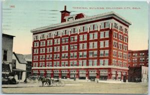 1915 Oklahoma City OKC Postcard TERMINAL BUILDING Downtown Street Scene