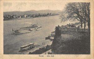 Bonn Alter Zoll River Boats Panorama Postcard