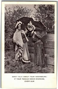 Gossiping Women, Don't Talk About Your Neighbors Vintage Postcard Q20