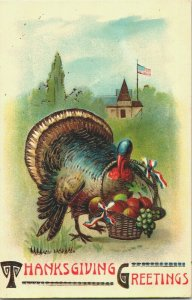 Early super-high-gloss + gold embossed Turkey American flag Thanksgiving card