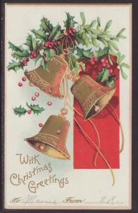 With Christmas Greetings,Bells,Holly Postcard