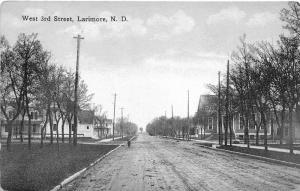 Larimore North Dakota~West 3rd Street~Girl Standing in Street~Houses~1916 Pc