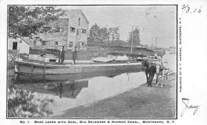 Boat Laden With Coal, Published by G.F Harding Wurtsboro, NY USA D & H Canal ...