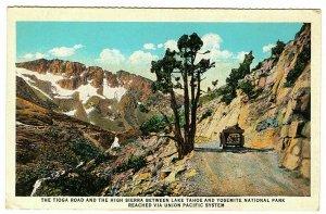 Sierra Nevada Mts California Union Pacific Postcard Unpaved Tioga Road #76353