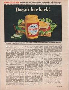 Kraft Mustard 1965 Print Ad, Doesn't Bite Back! Glass Jar