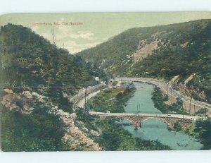 Divided-back BRIDGE SCENE Cumberland - Near Uniontown Pennsylvania PA AD7537