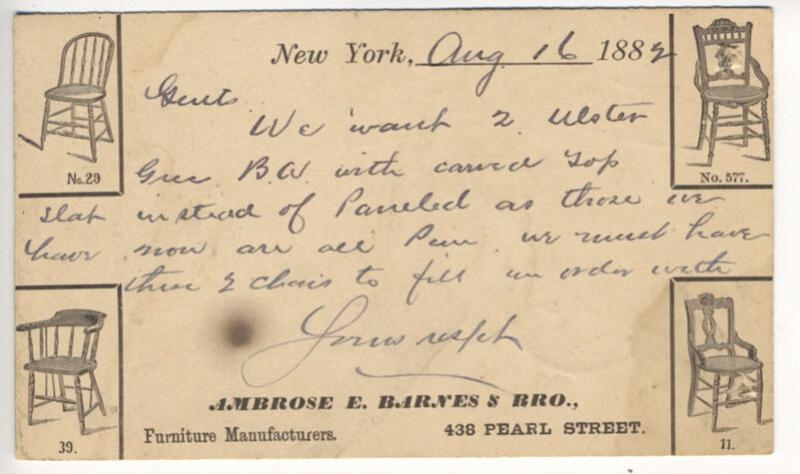 Advertising Pioneer New York NY Furniture Manufacturers Rare 1882 Postal Card