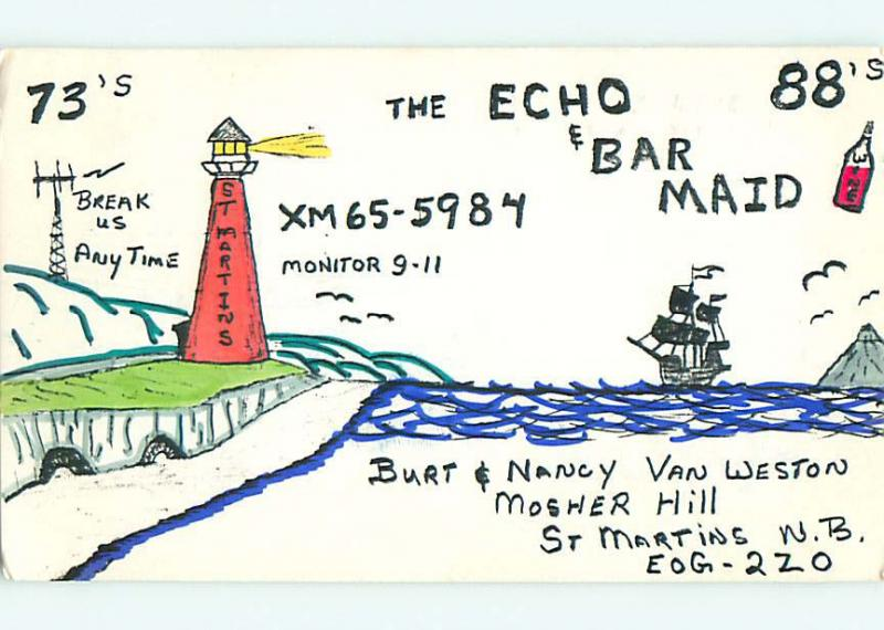 lighthouse - QSL HAM RADIO CARD in St. Saint Martins New Brunswick Canada t1285