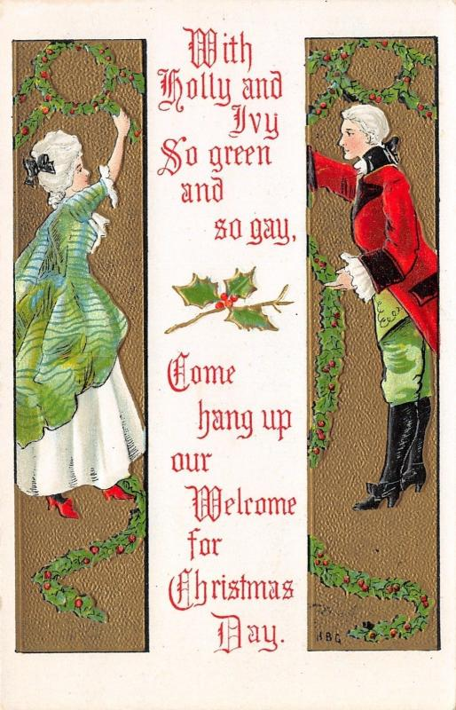 HBG Christmas~Colonial Lady & Gent Decorate~Holly Berry Garland~Gold Emboss~L&E