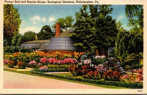 Pennsylvania Philadelphia Zoological Gardens Flower Bed and Reptile House 1943