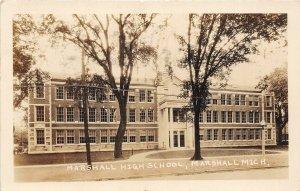 H50/ Marshall Michigan RPPC Postcard 1930 Marshall High School 48