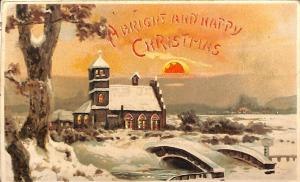A Bright And Happy Christmas Hold-To-Light H-T-L Postcard