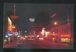 PHOENIX ARIZONA DOWNTOWN STREET SCENE AT NIGHT 1950's CARS POSTCARD