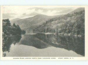 W-border RIVER SCENE Stony Creek - Near Lake George & Glens Falls NY AE6383