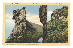 Franconia Notch Multiview Postcard Three Rock Faces Old Man Watcher Indian Head
