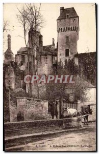 Old Postcard Creully Chateau Le Donjon Character in Charette wells Horse