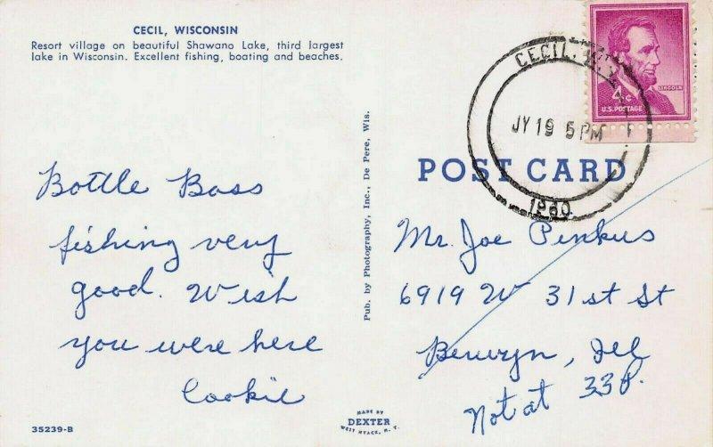 CECIL WISCONSIN~RESORT VILLAGE-SHOWANA LAKE~DOUBLE CIRCLE 1960 PSTMK POSTCARD