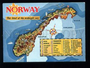 210087 NORWAY MAP land of midnight sun old postcard