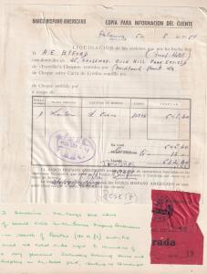 Barcelona El Banco Hispano Americano 1954 Receipt Photo Ephemera