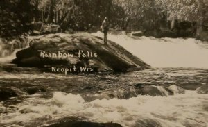 Vintage Postcard Rainbow Falls Neopit Wisconsin fly fishing river rapids   764