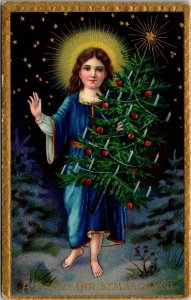 A Merry Christmas To You - Christmas Tree Gold Religious - POSTCARD PC POSTED