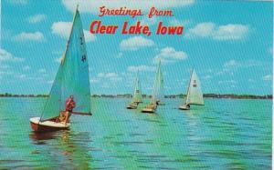 Iowa Greetings From Clear Lake Sailboat Racing