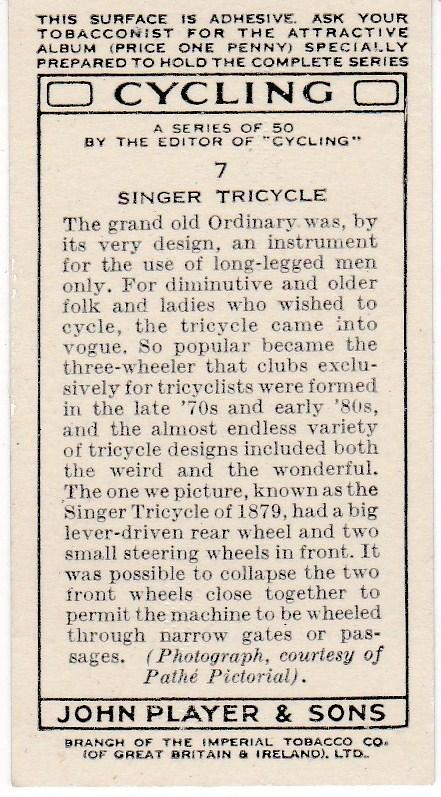 Cigarette Cards Players CYCLING No 7 Singer Tricycle