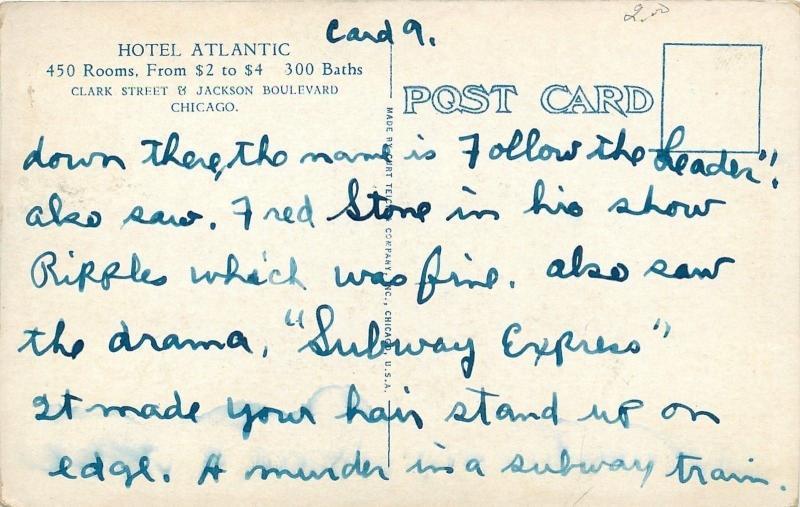 Chicago Illinois~Hotel Atlantic Interior~Mint Green & White Writing Room~1920s