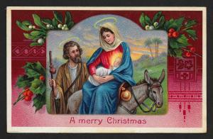 Merry Chirstmas Donkey Mary Joseph Baby & Holly Unused c1910s