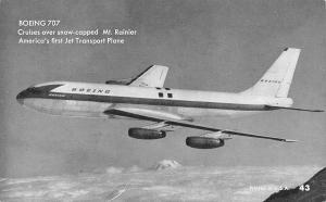 Boeing 707 Plane~Jet Transport~Mt Ranier WA~1950s B&W Arcade Card #43