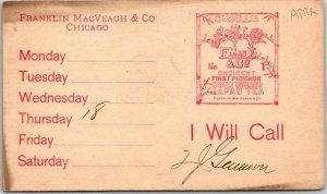 1889 Chicago Advertising Postcard FRANKLIN MacVEAGH & CO Salesman's Appt. Card