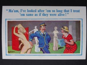 Donald McGill Comic Postcard: Museum MA'AM, I'VE LOOKED AFTER EM..... ? No.935