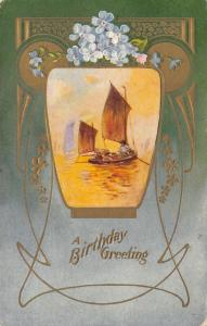 Flower Greetings~Sailboat in Art Nouveau Design~Green to Blue Fade~Gold Emboss