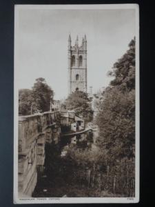 Oxfordshire MAGDALEN TOWER showing Punt Station - Old Postcard