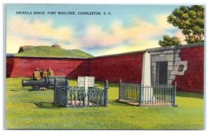 Mid-1900s Chief Osceola Grave, Fort Moultrie, Charleston, SC Postcard